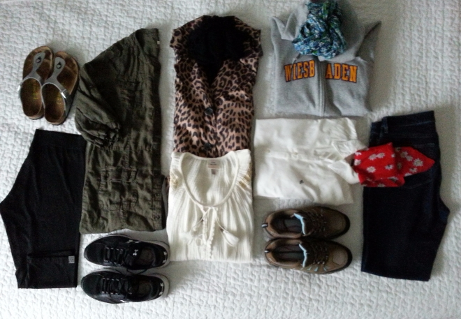 Bullet wardrobe for road trip and light hiking